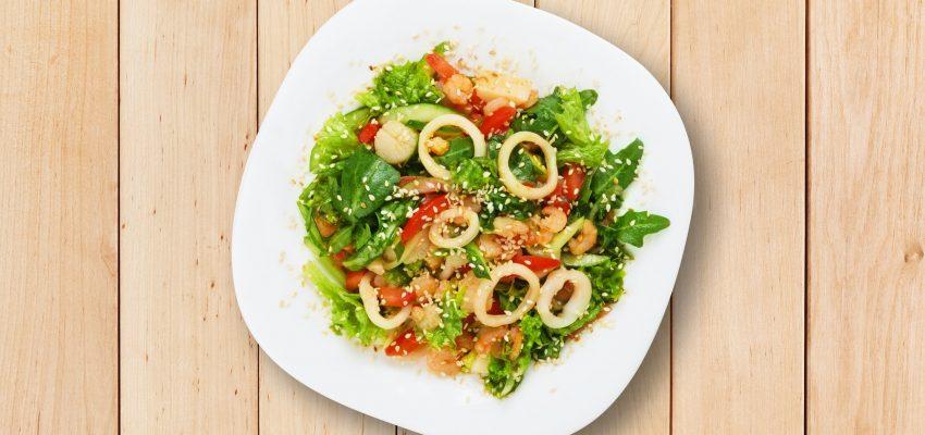Restaurant food - seafood salad with calamari
